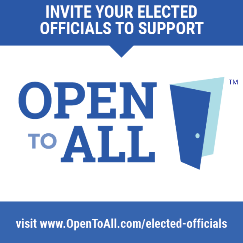 Here's a cool new opportunity to show you are #OpenToAll. To learn more about @OpentoAllofUS and to take the pledge, visit: www.OpenToAll.com/elected-officials
