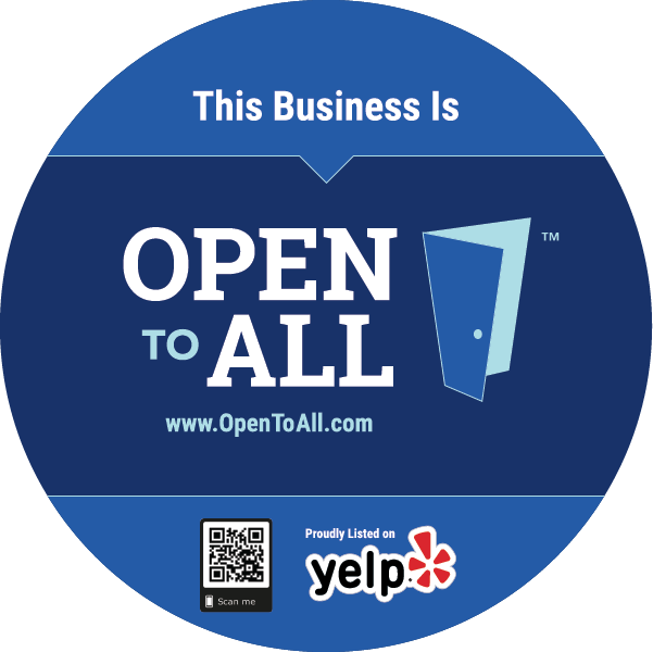Front of Open to All Circular Cling with Yelp logo